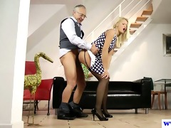youthful euro doxy plays with old mans weenie