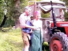 granddad and niece in the field