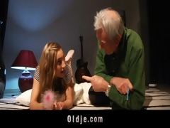 old dude got fuck lesson from youthful blond