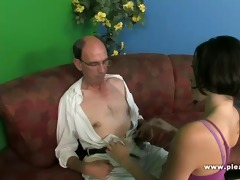 grandpa copulates a slender whore with petite