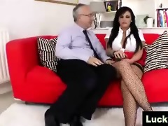 large tit brunette hair juvenile wench in nylons
