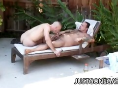 pool guy fucks his boss outdoors