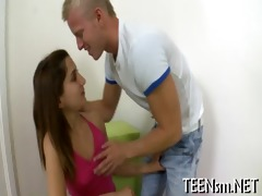 slender girl is impaled on jock