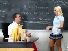 golden-haired schoolgirl in short skirts