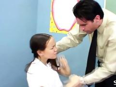 oriental schoolgirl with braces