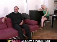 father punishes sons gf