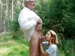 juvenile beauty helping an old guy wi...