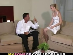 youthful golden-haired cheats with her bfs daddy