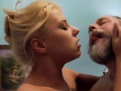 hot blond receives drilled old lad