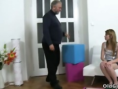 sveta kneels to receive her aged mans cum all