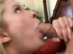 golden-haired whore in red fishnet gets screwed