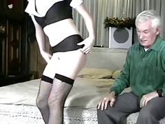 old and juvenile (he licks his own cum off her)