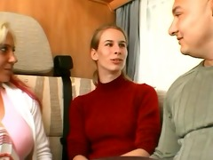 german cutie enticed by a pair in a camper