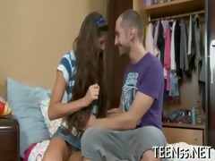 charming legal age teenager rides biggest dick