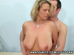breasty non-professional wife sucks and fucks