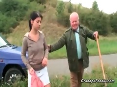 cute honey seduces granddad on the road