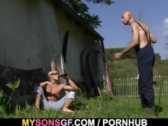 old daddy toying his sons gf twat